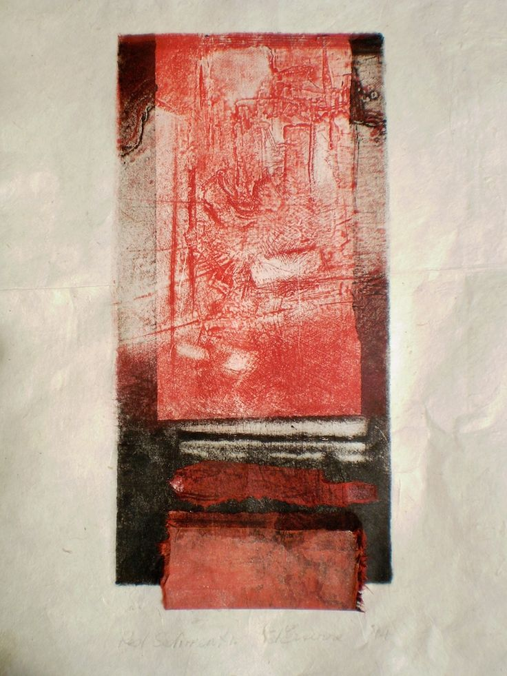 ELAINE d'ESTERRE - Red Sediment 1, 2014, intaglio and chine-colle on rice paper 26x12 cm print, 50x35 cm paper by Elaine d'Esterre about the formation of the Pilbara in W. Australia viewed at elainedesterreart.com and www.facebook.com/elainedesterreart/
