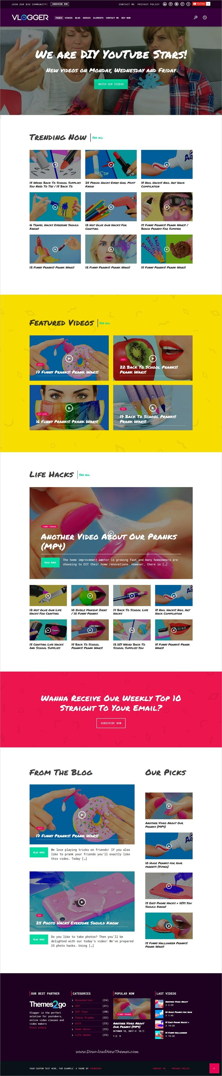 Vlogger is clean and modern design 4in1 responsive #WordPress theme for professional #DIY #videos , tutorials, online courses and video blogs website download now..