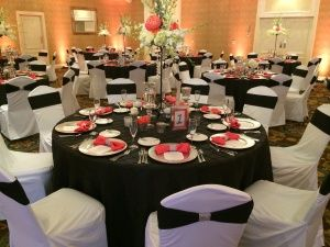 Black Pintuck Tablecloths White Polyester Chair Covers