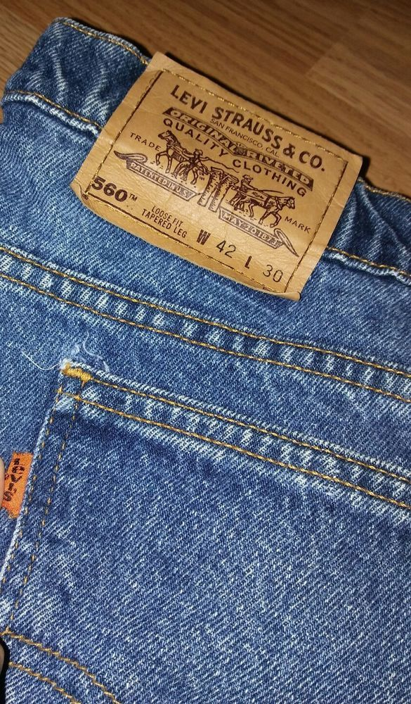 LEVI'S 560 Loose Fit Tapered Leg Jeans Mens orange Tag 42x30 Great #Levis #Loose