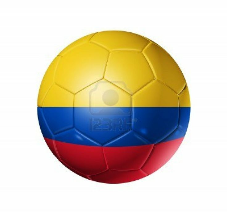 3D soccer ball with Colombia team flag. isolated on white with clipping path