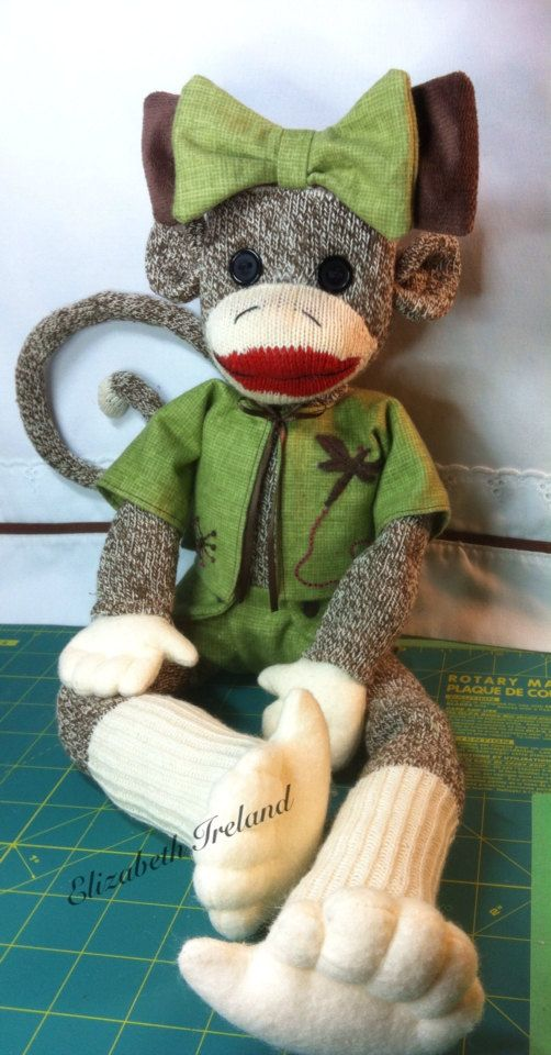 #SockMonkeyHoliday Large Rockford Sock Monkey girl doll by theStudioGiftShop on Etsy