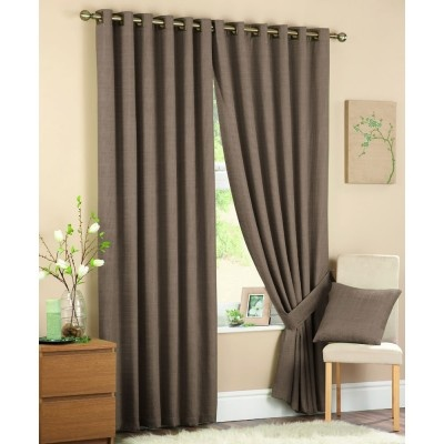 Cassia Ready Made Curtains Coffee    Contemporary Eyelet Heading  Fully Lined Curtains  Subtle Colourway  Matching Tie Backs Available  Matching Cushion Cover Also Available