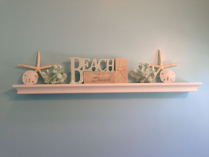 Beach theme bathroom shelf home decor pinterest for Beach themed mural