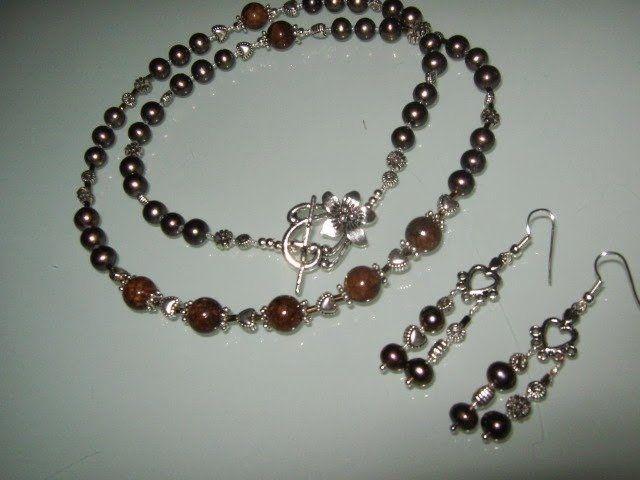 art 280 collana in perle di fiume marroni e giada marrone naturale...   su MissHobby