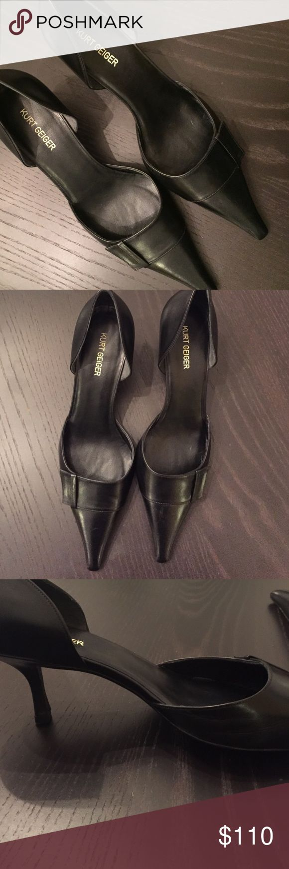Kurt Geiger black low heels NWOT 39.5 These Kurt Geiger heels are really unusual and yet stunning. A size 39 1/2, they are new without tags I SHIP IMMEDIATELY- no long waits! kurt geiger Shoes Heels