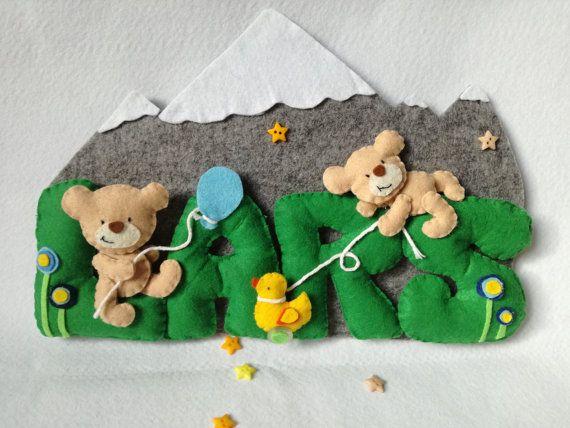 Fiocco nascita banner nome feltro lettere baby Kids room orsetto montagna paperella fiore stella