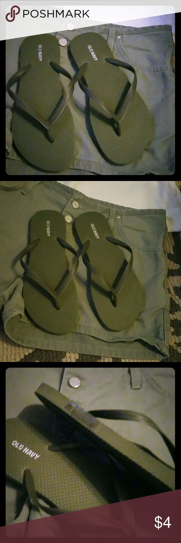 NWT OLD NAVY FLIP FLOPS ARMY GREEN SZ 7M Brand new never worn OLD NAVY Flip Flops free with purchase of the shorts in my listing that match them exactly. Super comfy! Old Navy Shoes Sandals