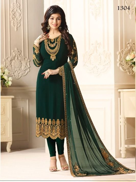 8c15cbab85 Beautify yourself wearing this Green Georgette unstitched suit decorated  with zari resham embroidery. Paired with a santoon bottom and embroidered  and stone ...