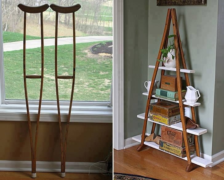 diy headboard shelves | Crutches transformed into a shelving unit (via Pinterest )