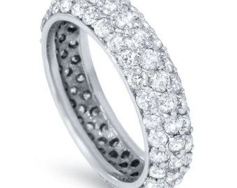 2.15CT Pave Diamond Eternity Ring 14 Karat White Gold Anniversary Stackable Band