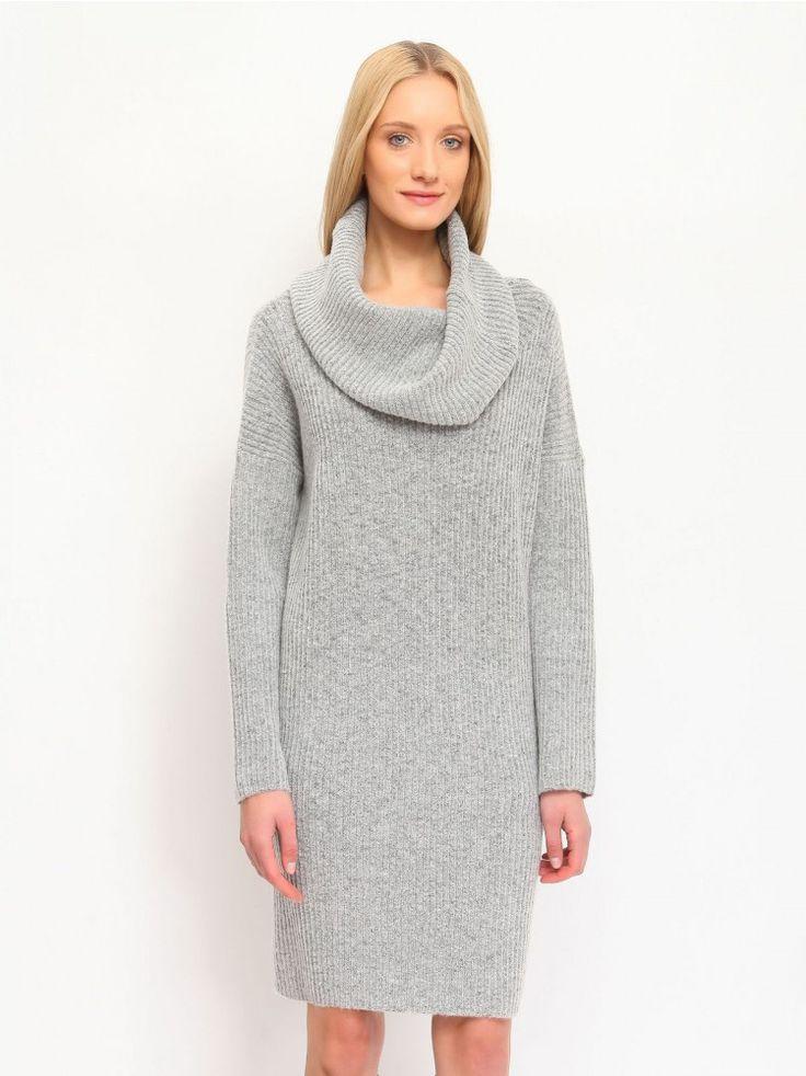Γυναικείο ζιβάγκο πλεκτό φόρεμα. Χρώμα: Γκρι.