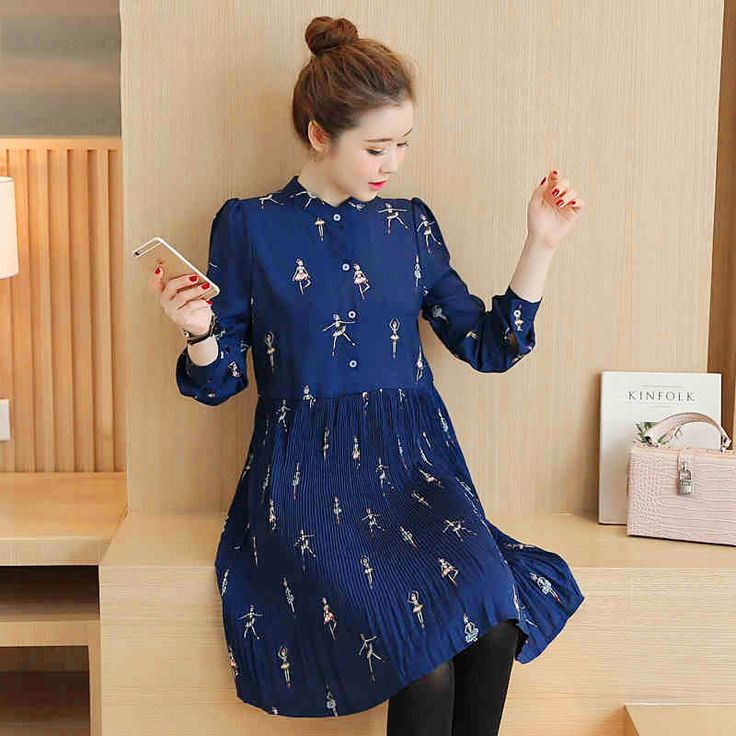 (32.85$)  Know more  - Maternity Autumn Dress For Pregnant Clothing Women Lactating Mothers Clothes For Striped Maternity Women Wear Gown 602157