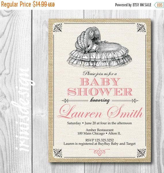 ON SALE Victorian Baby Shower Invitation  Bassinet Baby Girl