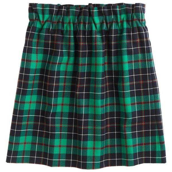 J.Crew City mini in Dublin tartan ($50) found on Polyvore featuring women's fashion, skirts, mini skirts, bottoms, bottoms - skirts, юбки, dublin green, green plaid skirt, long skirts and long wool skirt