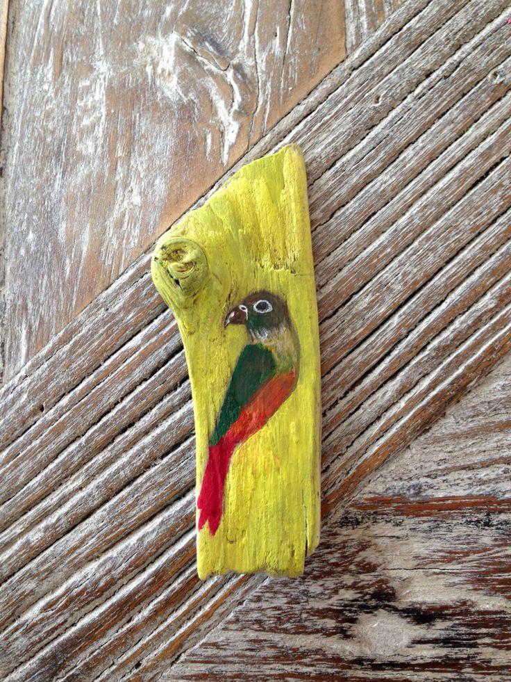 Tygo geschilderd op stukje drijfhout gevonden op de bukdijk