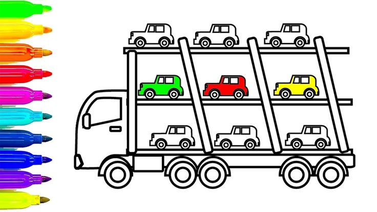 Learn Colors for Kids with Car and Truck Coloring Pages, Fun Colouring B...