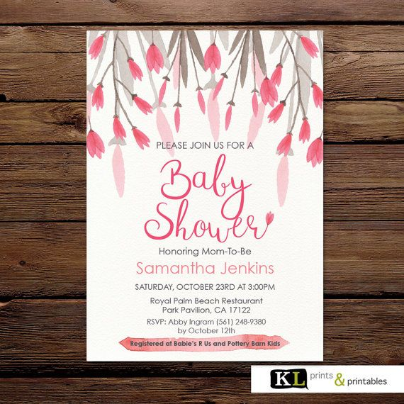 Baby Shower Invitation - Floral Invitation - Personalized Invitation - Printable Invitation - Digital  - Custom - Pretty pink flowers invite