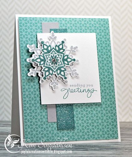 Stampin' Up! ... handmade card: Snowflake Greetings . white with aquas and gray ... fancy stamped and layered snowflake ... like the asymmetrica balance of the layout ...