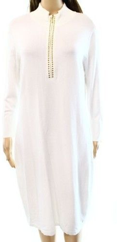 Calvin Klein White Women's Size Small S Studded Sweater Dress