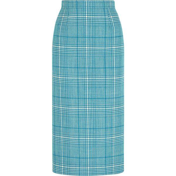 Miu Miu Checked wool pencil skirt (825 BGN) ❤ liked on Polyvore featuring skirts, light blue, blue midi skirts, midi skirt, light blue pencil skirt, knee length pencil skirt and blue skirt
