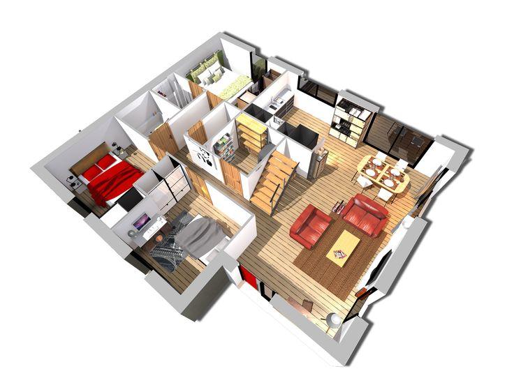 Maison gamme 001 vue d 39 ensemble du rez de chauss e plans maisons floor plans flooring et - Plan de maison rez de chaussee ...
