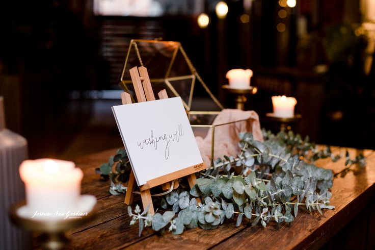 DY.o events (aka Duo)  Blush and green, textured wishing well.
