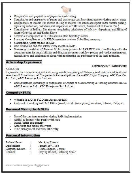 Experienced Chartered Accountant Resume Sample Doc (2) Career - chartered accountant resume
