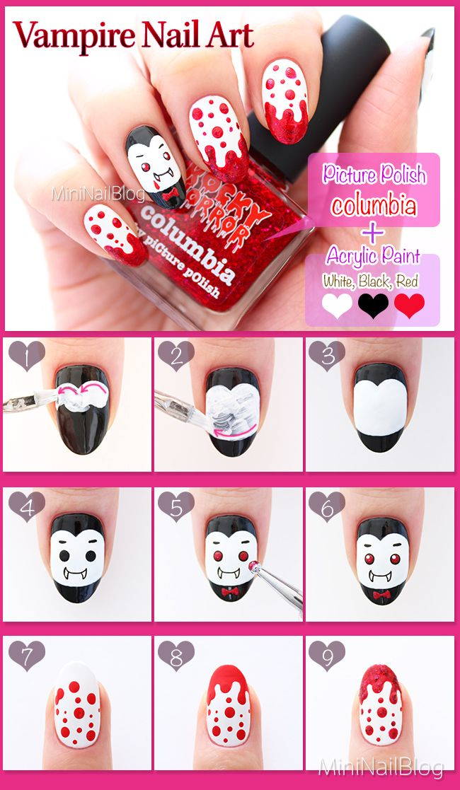 Vampire Nail Art Tutorial! Details are on my blog: https://nailbees - Best 25+ Vampire Nails Ideas On Pinterest Halloween Nail Art