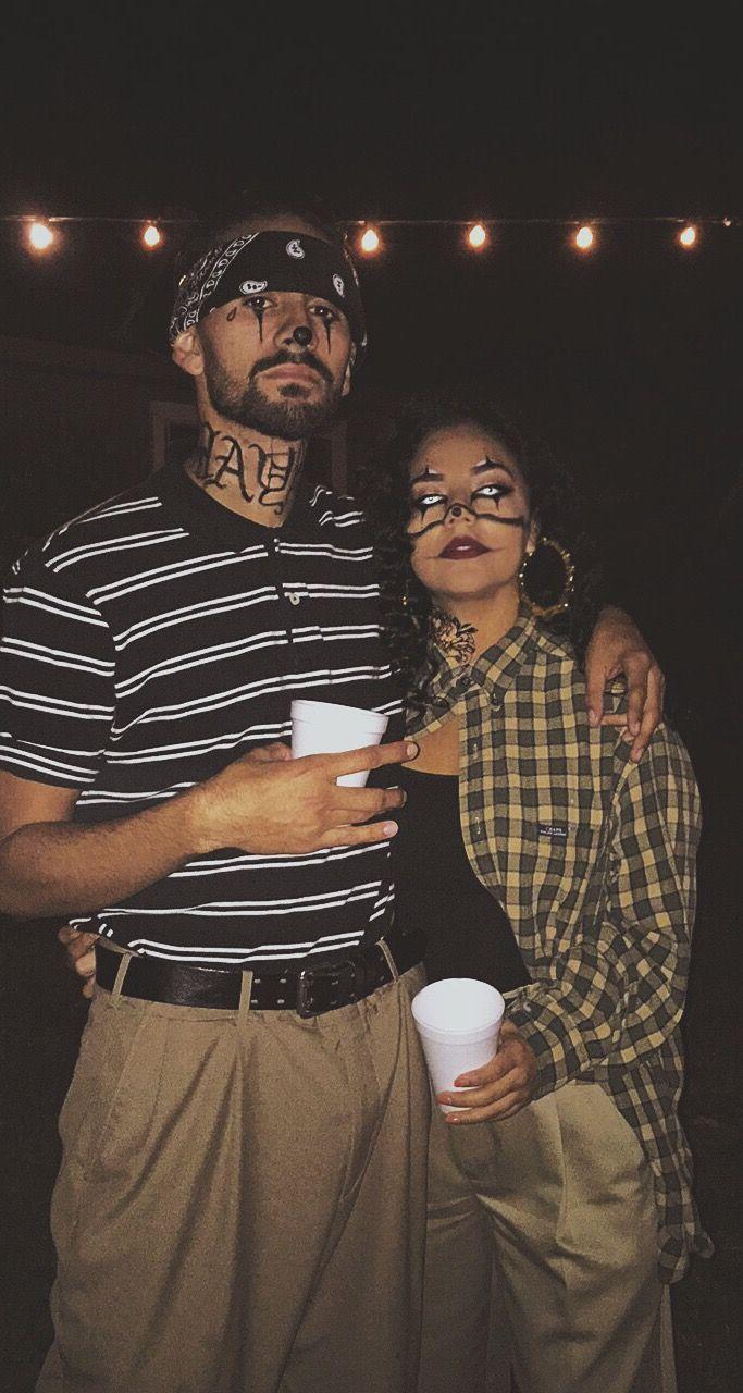 Halloween gangster clown couple