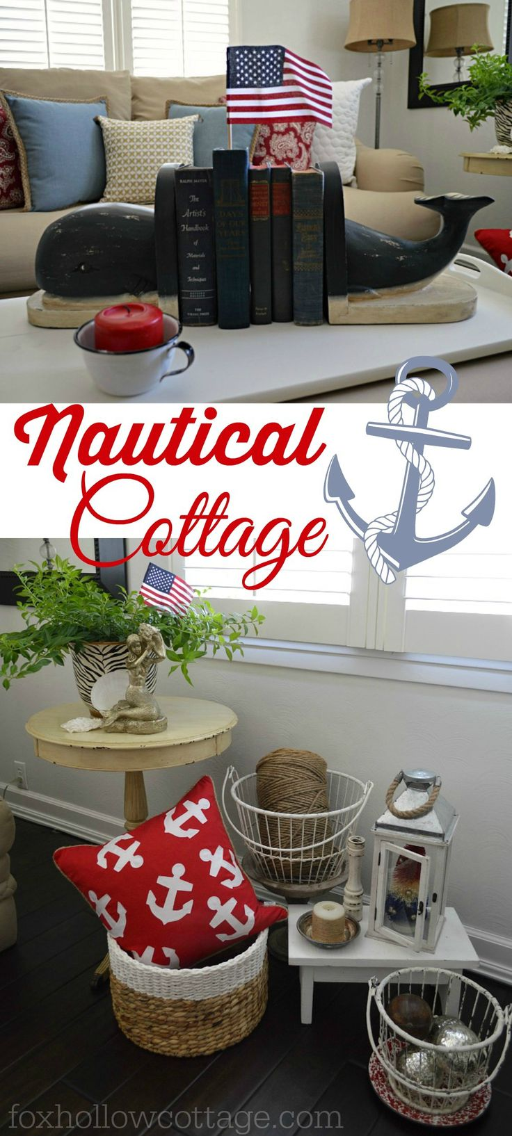 Nautical Home Decorating | Cottage Summer Decor - with coastal @homegoods  elements like the red anchor pillow and iron baskets. sponsored pin