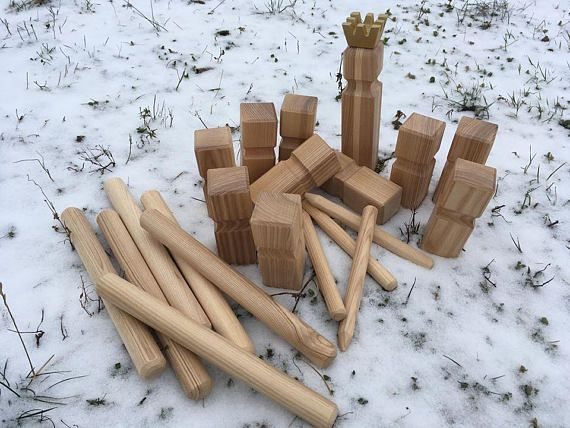 Lawn Game Viking Kubb Camping Game Blocks Chess Made By Tikmedis Simple Lawn Game With Wooden Blocks
