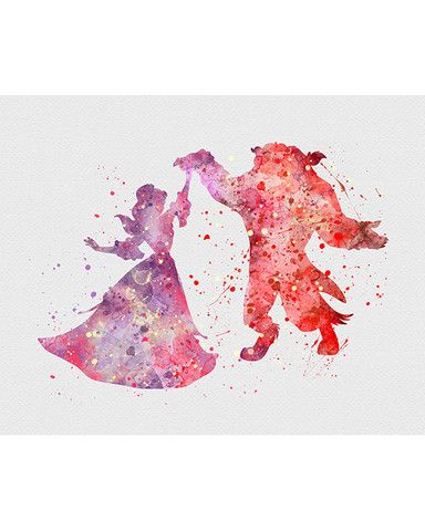 Beauty and the Beast Belle Watercolor Art - VIVIDEDITIONS