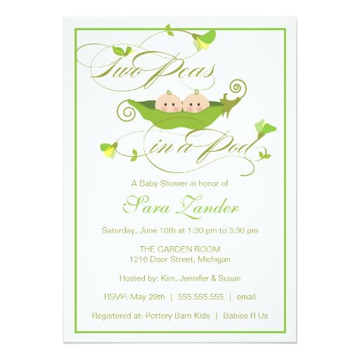 Twins Baby Shower Invitation   Two Peas In A Pod