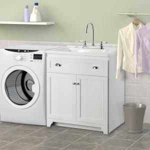 Foremost Keats 30 in. Laundry Vanity in White and Premium Acrylic Sink ...