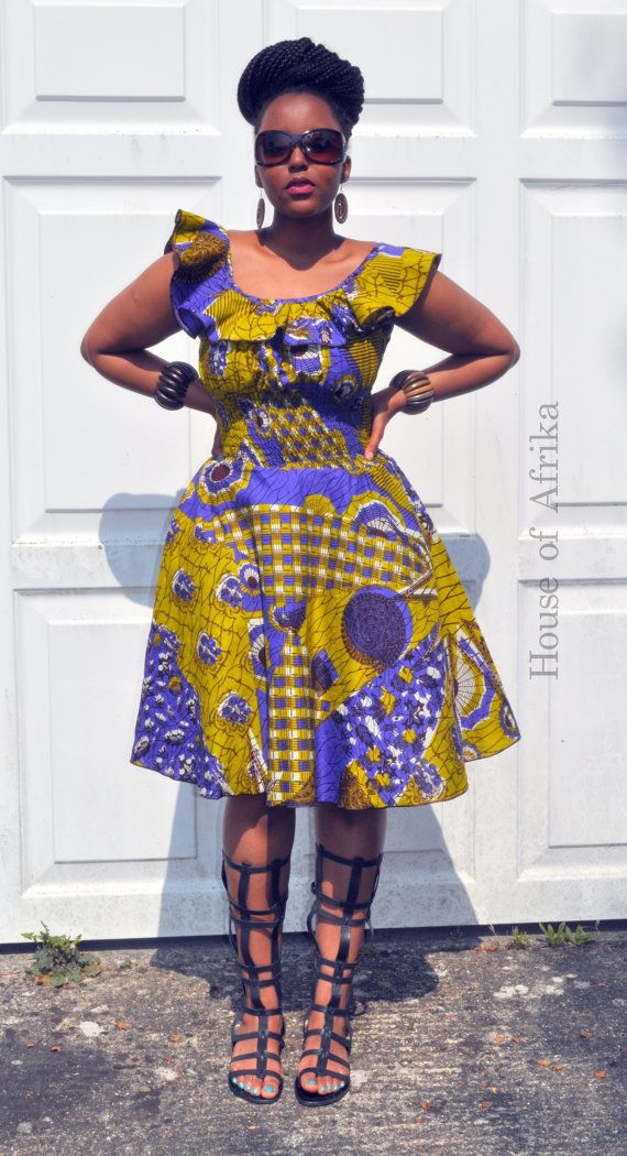 Balma dress in green purple and mustard hues by HouseofAfrika