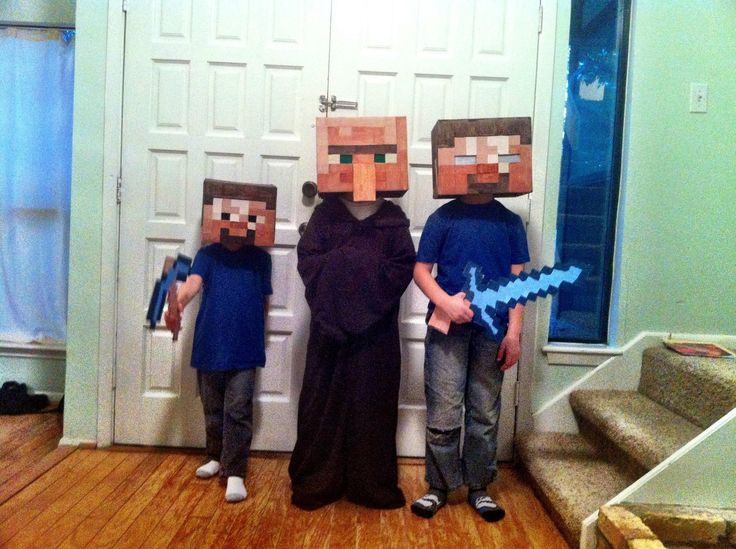 my three boys minecraft costumes this evening steve herobrine and a villager