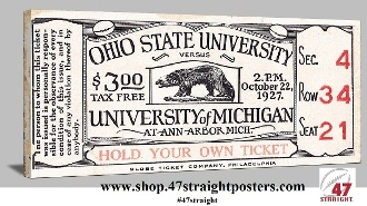 College football art. Michigan Wolverines football ticket art from 47 STRAIGHT.™ 1927 Michigan Stadium Dedication Game vs. Ohio State. Michigan football art, Vintage Michigan football art, college football art, Michigan Father's Day Gifts, Michigan football tickets, Best Father's Day Gifts 2013, Father's Day Gifts football fans, Fathers Day gifts for sports fans #47straight
