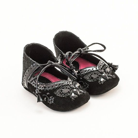 Butterfly Collection  Vibys Black Baby shoes by Vibys on Etsy