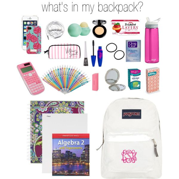 whats in my backpack? by paigehillmanx on Polyvore featuring polyvore, beauty, Stila, Maybelline, Wet n Wild, Clean & Clear, Eos, Kate Spade, Victoria's Secret and JanSport