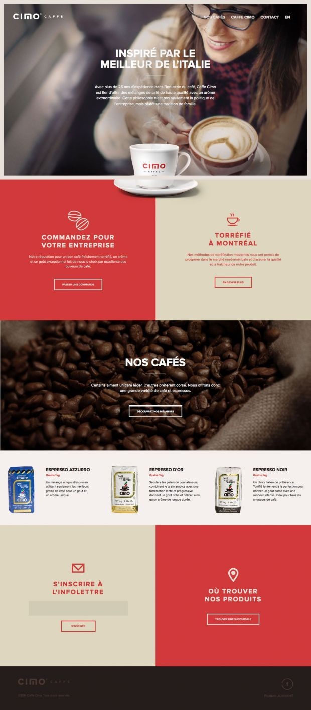 Caffe Cimo - Inspired by the best of Italy (main nag/content/footer/header/hero) #coffee