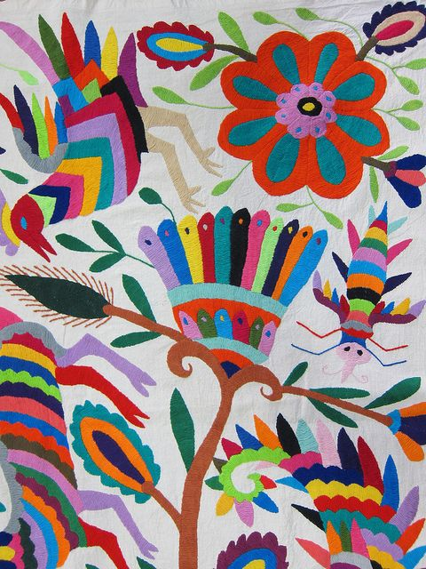 Mexican patterns - Otomi fabric and textiles for home decoration by Mexico…