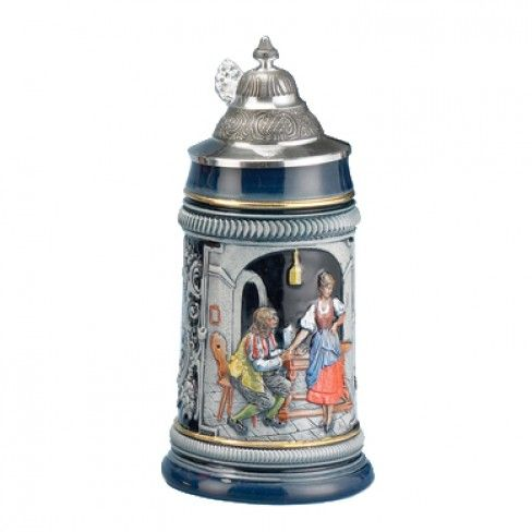 The German Proposal Wedding stein is decorated with a scene in which a man is lowering himself down onto one knee to propose to his love. Holds about 17 ounces. Dim: 8.5 inches tall. Origin: Germany. $120.99
