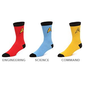 Geek chic! Men's and Women's sizes in all three colors: Command Gold, Operations Red, and Science Blue. The insignia for the particular position is printed on the ankle. The heels, toes, and cuff are a classic black. #dad