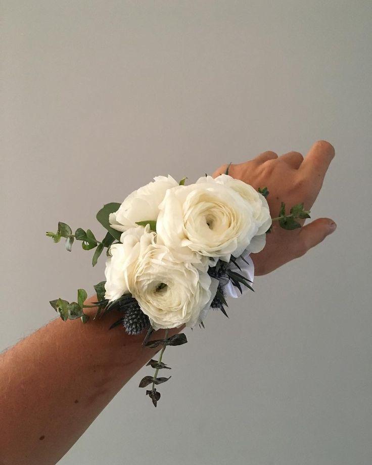 CBL154 wedding Riviera Maya white ranunculus corsage