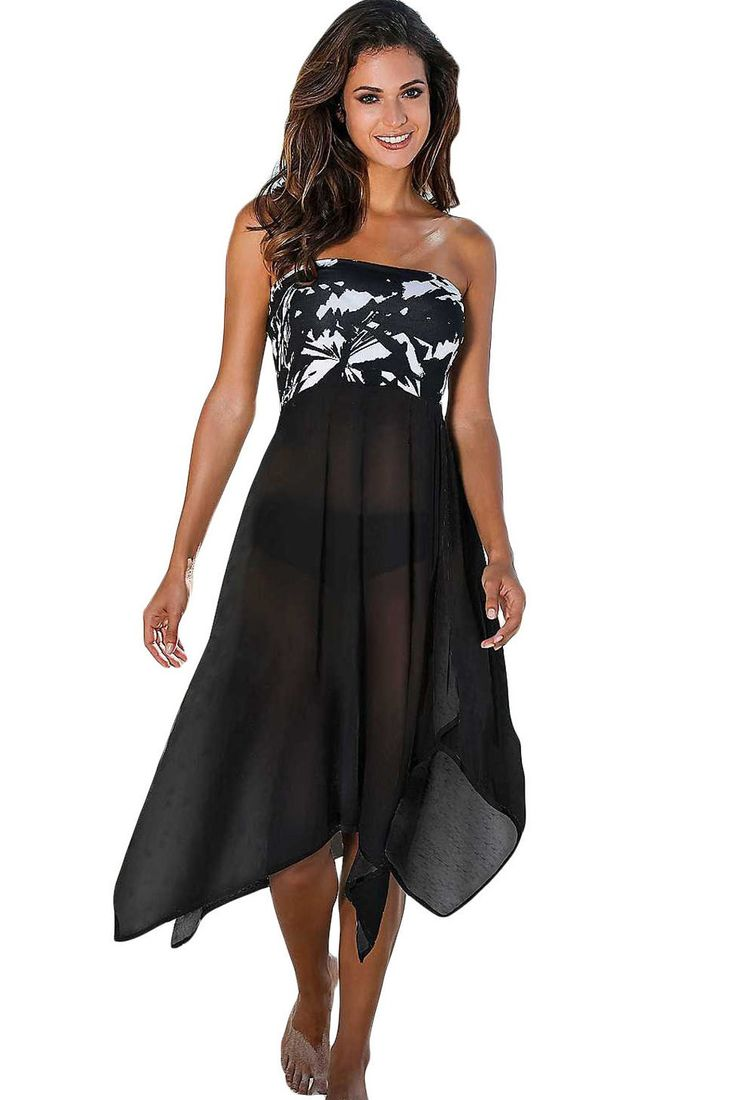 Robe Pareo de Plage Bustier Noir Blanc Impression Monochrome Pas Cher www.modebuy.com @Modebuy #Modebuy #Blanc #Noir #Blanc #mode