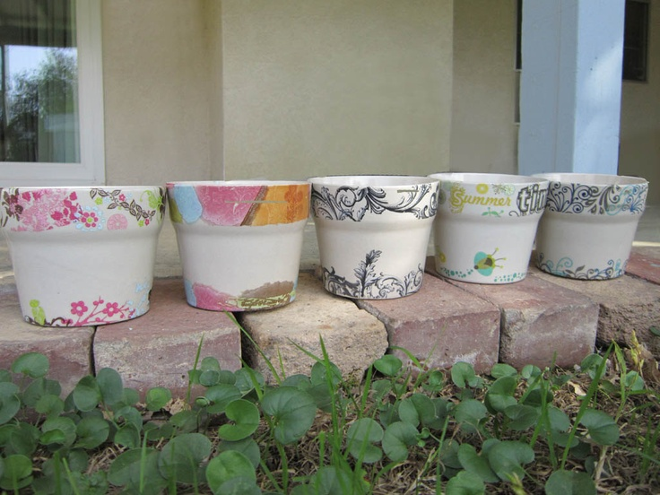4 Decorated Ceramic Plant Pots  NEW UPDATED by BiggerOrangerCat, $13.00