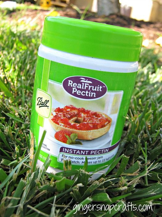 fruit pectin from Ball @ WALMART in canning aisle.  RECIPE: no-cook strawberry freezer jam {recipe}