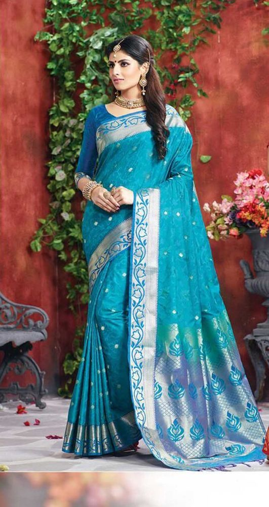 New Indian-Pakistani designer Bollywood Party Sarees Blue Color Pure Silk Sarees #Handmade #sareesari