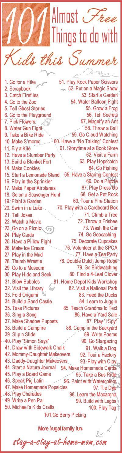 101 Almost FREE things to do with your kids this summer. ~ List of ways to save money on entertainment will give you lots of great ideas on places to go and things to see.